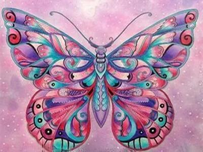 5D DIY Full Drill Diamond Painting Magical Butterfly Cross Stitch Craft Kit Diamond Art Painter F3324 20x15cm rolled bag