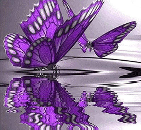 Image of 5D DIY Full Drill Diamond Painting Purple Butterflies Cross Stitch Craft Kit Diamond Art Painter