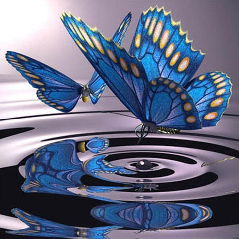 Image of 5D DIY Full Drill Diamond Painting Purple Butterflies Cross Stitch Craft Kit Diamond Art Painter Blue 20*20cm