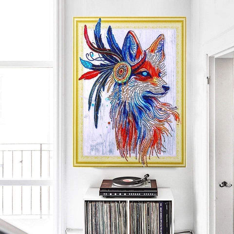Image of 5D DIY Partial Drill Diamond Painting(DIY) Craft Kit- Native American Wolf Diamond Art Painter