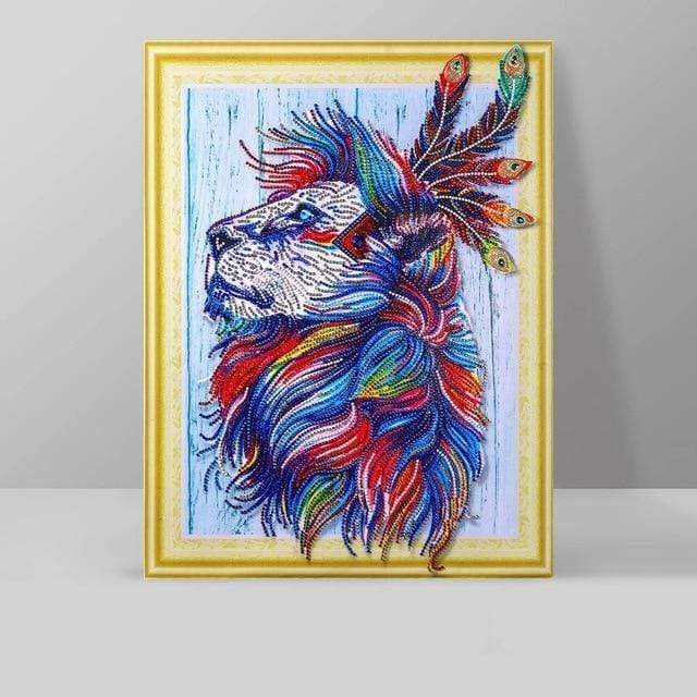 5D DIY Partial Drill Diamond Painting(DIY) Craft Kit- Native American Wolf Diamond Art Painter LP027
