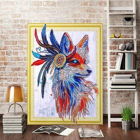 Image of 5D DIY Partial Drill Diamond Painting(DIY) Craft Kit- Native American Wolf Diamond Art Painter LP030