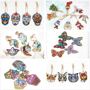 5pcs DIY Diamond Painting Keychain Special-shaped Full Drill Skull Ornament Diamond Art Painter