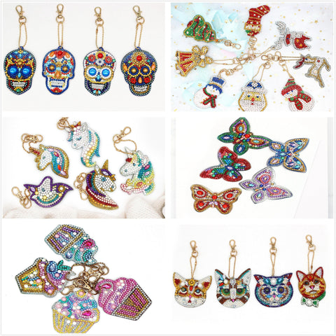 Image of 5pcs DIY Diamond Painting Keychain Special-shaped Full Drill Skull Ornament Diamond Art Painter
