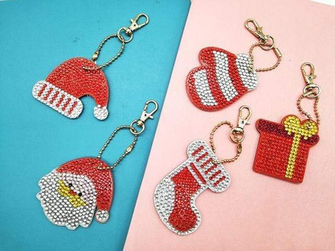 5pcs DIY Diamond Painting Keychain Special-shaped Full Drill Skull Ornament Diamond Art Painter YSK01
