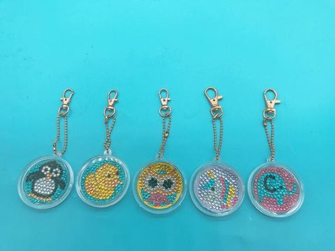 5pcs DIY Diamond Painting Keychain Special-shaped Full Drill Skull Ornament Diamond Art Painter YSK09