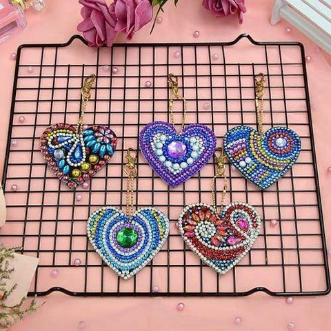 5pcs DIY Diamond Painting Keychain Special-shaped Full Drill Skull Ornament Diamond Art Painter YSK12