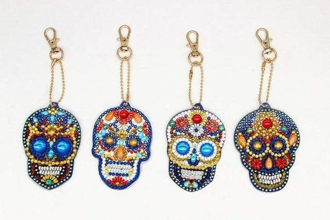 5pcs DIY Diamond Painting Keychain Special-shaped Full Drill Skull Ornament Diamond Art Painter YSK21