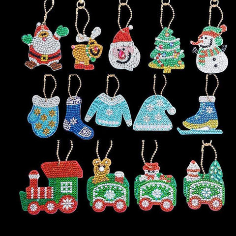 5pcs DIY Full Drill Special-Shape Diamond Painting Keychain Christmas Decor Diamond Art Painter