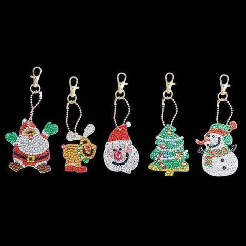 5pcs DIY Full Drill Special-Shape Diamond Painting Keychain Christmas Decor Diamond Art Painter a