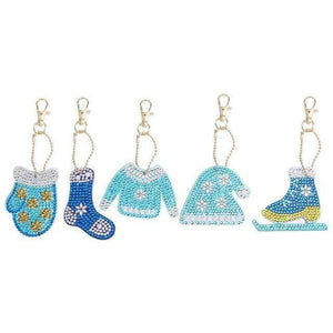 5pcs DIY Full Drill Special-Shape Diamond Painting Keychain Christmas Decor