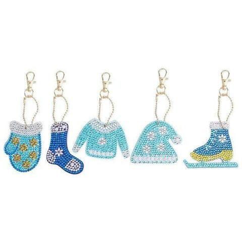 5pcs DIY Full Drill Special-Shape Diamond Painting Keychain Christmas Decor Diamond Art Painter b
