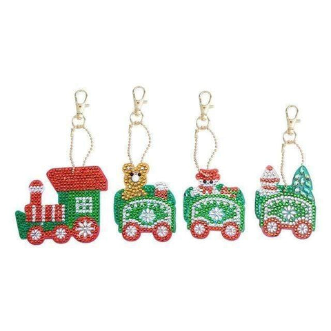 5pcs DIY Full Drill Special-Shape Diamond Painting Keychain Christmas Decor Diamond Art Painter c