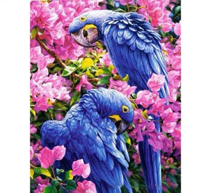 Blue Parrots and Pink Flowers | DIY 5D Diamond Art Painting Diamond Art Painter