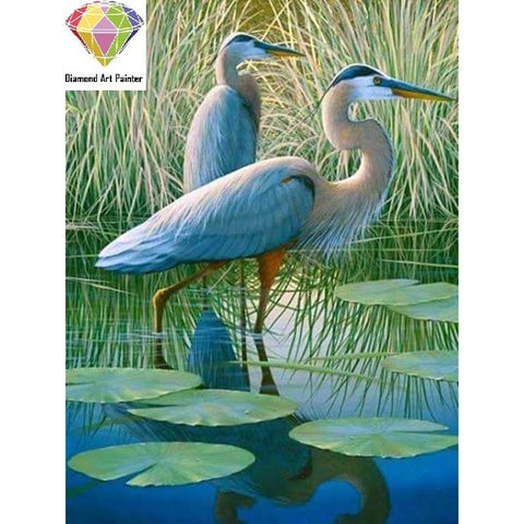DIY Diamond Painting Kit - Wading Blue Herons-eprolo-30x40CM-Diamond Art Painter