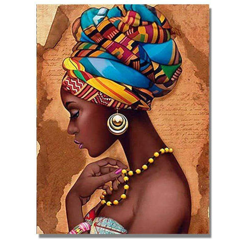 Image of Full Drill 5D Diamond Painting Craft Kit (DIY)-African Woman eprolo 1 20x25cm