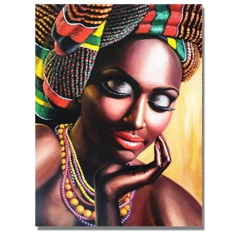 Image of Full Drill 5D Diamond Painting Craft Kit (DIY)-African Woman eprolo 2 20x25cm