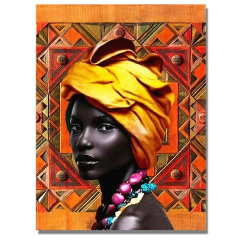 Image of Full Drill 5D Diamond Painting Craft Kit (DIY)-African Woman eprolo 3 20x25cm