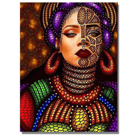 Image of Full Drill 5D Diamond Painting Craft Kit (DIY)-African Woman eprolo 5 20x25cm