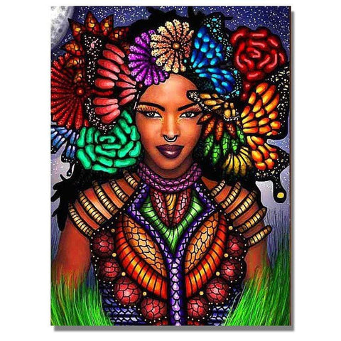 Image of Full Drill 5D Diamond Painting Craft Kit (DIY)-African Woman eprolo 6 20x25cm