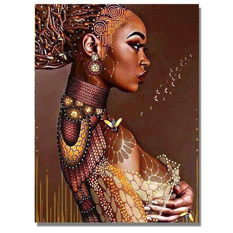 Image of Full Drill 5D Diamond Painting Craft Kit (DIY)-African Woman eprolo 7 20x25cm