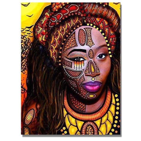 Image of Full Drill 5D Diamond Painting Craft Kit (DIY)-African Woman eprolo 8 20x25cm