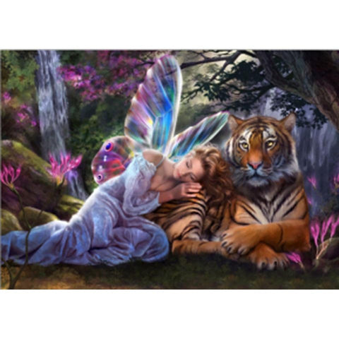 Image of Full Drill 5D Diamond Painting Craft Kit (DIY)- Fairy Princess eprolo Princess and tiger 20-30cm Square drill