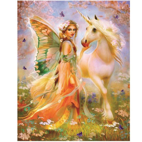 Full Drill 5D Diamond Painting Craft Kit (DIY)- Fairy Princess eprolo Unicorn 20-30cm Square drill