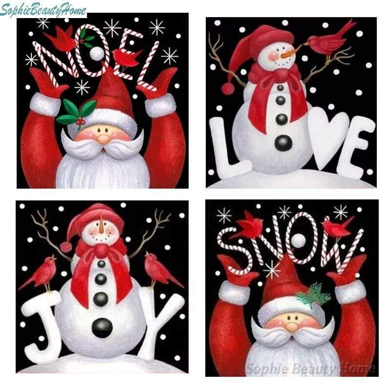 Full Drill 5D Diamond Painting (DIY) Craft-Christmas Cards Snowman Santa Claus eprolo