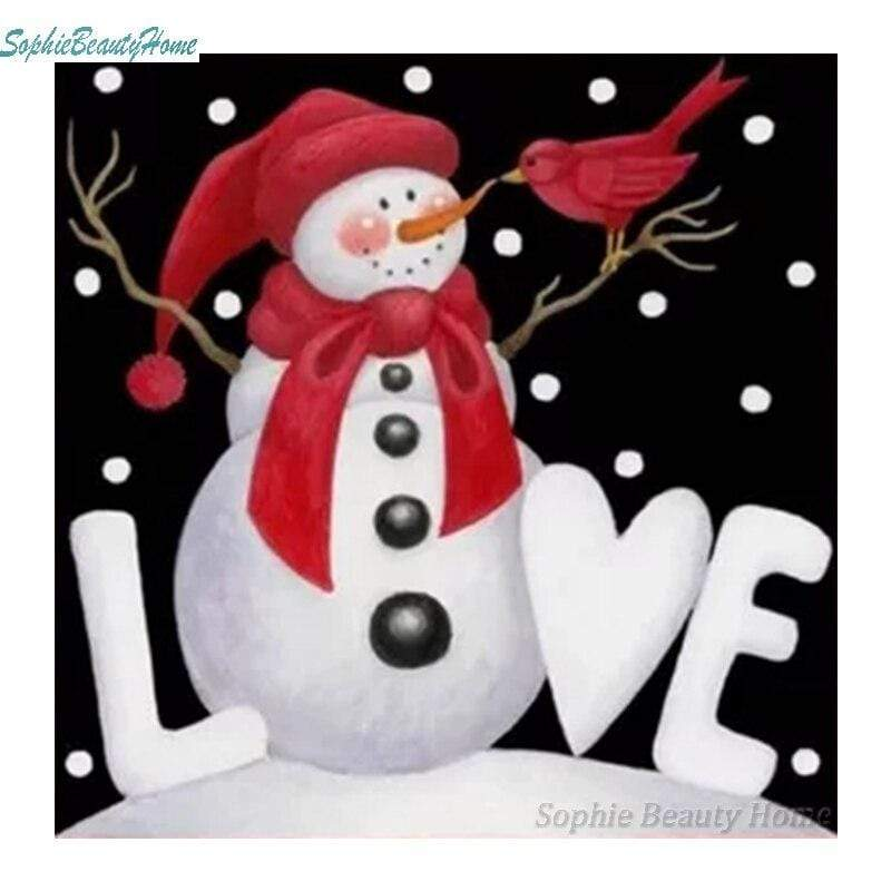 Full Drill 5D Diamond Painting (DIY) Craft-Christmas Cards Snowman Santa Claus eprolo D09071-2 15x15cm round