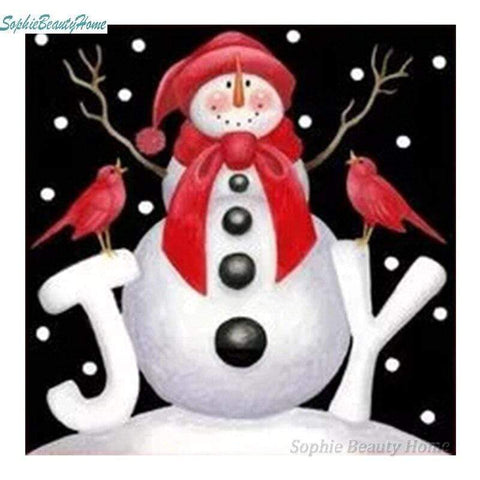 Full Drill 5D Diamond Painting (DIY) Craft-Christmas Cards Snowman Santa Claus eprolo D09071-3 15x15cm round
