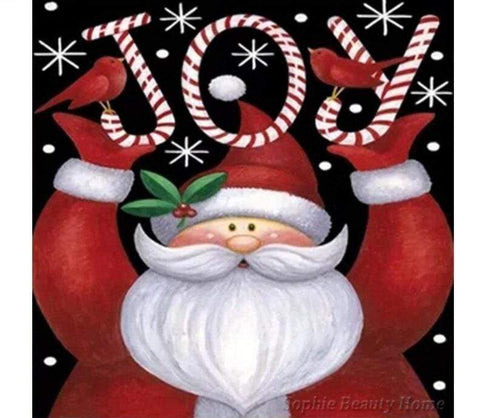 Image of Full Drill 5D Diamond Painting (DIY) Craft-Christmas Cards Snowman Santa Claus eprolo D09071-6 15x15cm round