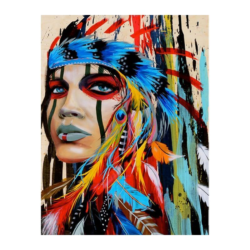 Full Drill 5D Diamond Painting (DIY) Craft Kit- Proud Native American Diamond Art Painter