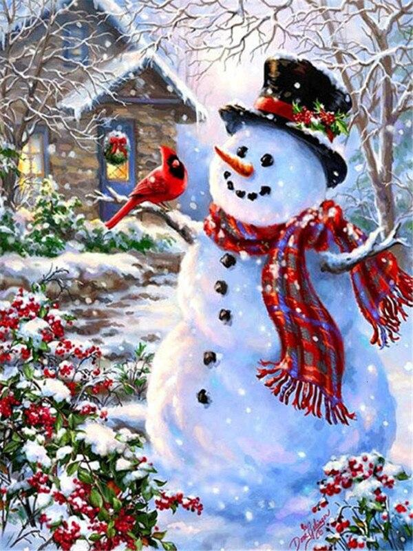 Full Drill 5D Diamond Painting (DIY)- Snowman's Dream eprolo FA1-1523 Full Square 20X30cm