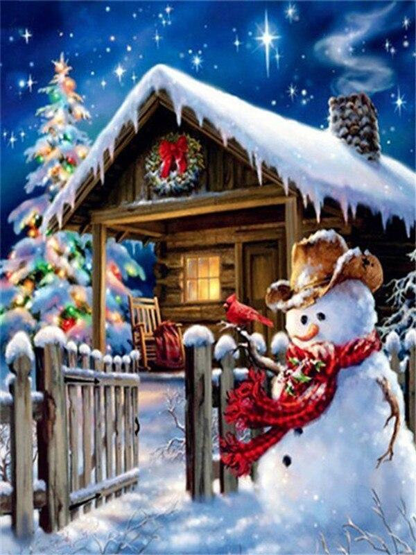 Full Drill 5D Diamond Painting (DIY)- Snowman's Dream eprolo FA1-1532 Full Square 20X30cm