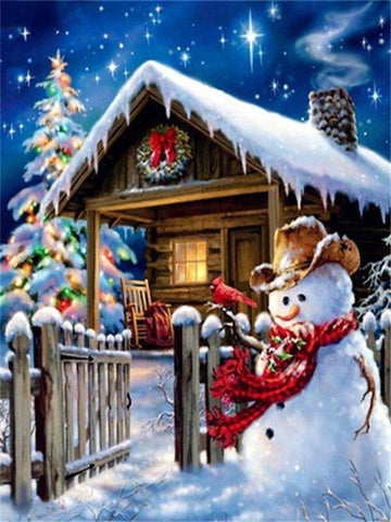 Image of Full Drill 5D Diamond Painting (DIY)- Snowman's Dream eprolo FA1-1532 Full Square 20X30cm