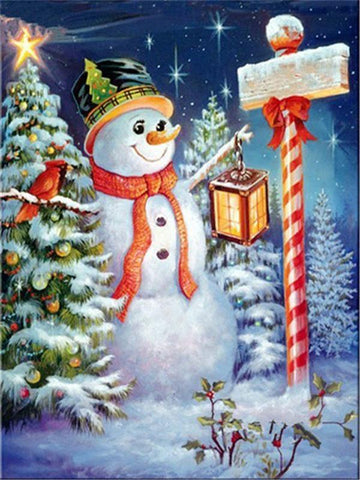 Image of Full Drill 5D Diamond Painting (DIY)- Snowman's Dream eprolo FA1-1534 Full Square 20X30cm
