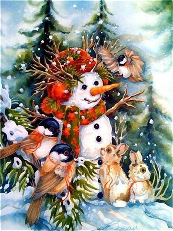 Full Drill 5D Diamond Painting (DIY)- Snowman's Dream eprolo FA1-1537 Full Square 20X30cm