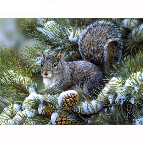 Image of DIY 5D Diamond Painting Kit - Winter Squirrel