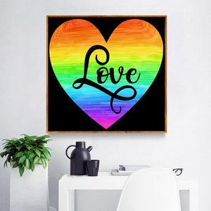 DIY 5D Diamond Painting Kit - Rainbow Heart