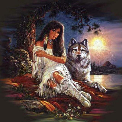 DIY 5D Diamond Painting Kit- Native Wolf Spirit 2