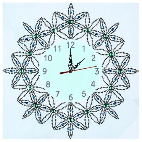 Image of DIY Special Shaped 5D Diamond Painting Wall Clock - Flower Butterfly