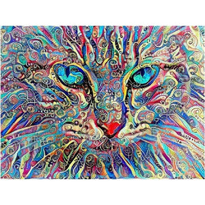 DIY 5D Diamond Painting Cross Stitch Kit - Abstract Kitty Cat