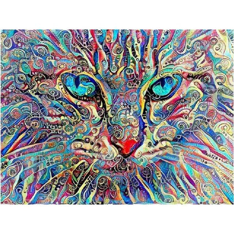 Image of DIY 5D Diamond Painting Cross Stitch Kit - Abstract Kitty Cat