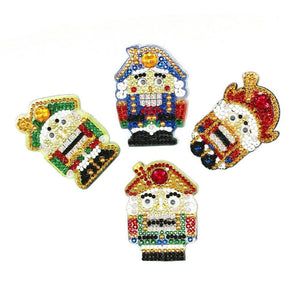 DIY 5D Diamond Painting Kit - 4 Pack Gift Bundle Nutcracker Friends Keychain