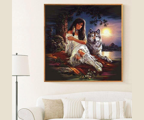 Image of DIY 5D Diamond Painting Kit- Native Wolf Spirit 2