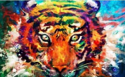 5D DIY AB Drill Diamond Painting Kit - Watercolor Tiger