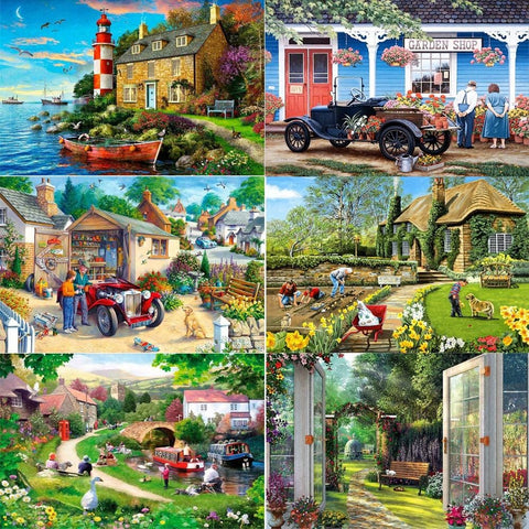 Image of DIY 5D Diamond Painting Kit - Village Neighborhood