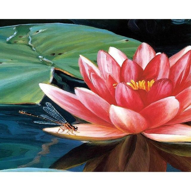 DIY 5D Diamond Painting Kit - Flowers Lotus Dragonfly