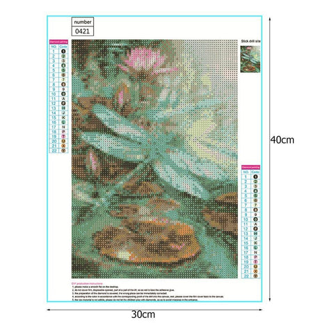 Image of DIY 5D Diamond Painting Kit - Flowers Lotus Dragonfly